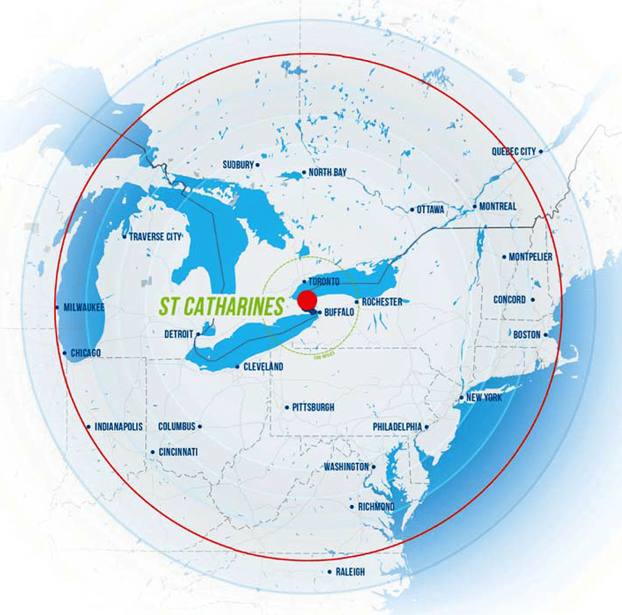 St. Catharines 500 Miles Map